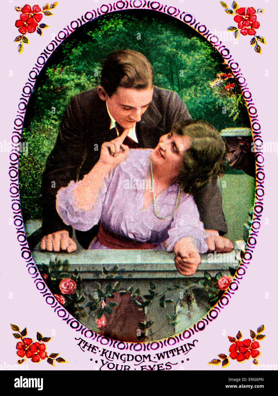 The Kingdom Within Your Eyes - Postcard featuring the song, (song by Horatio Nicholls, c. 1919).   Lyrics (reproduced - Stock Image