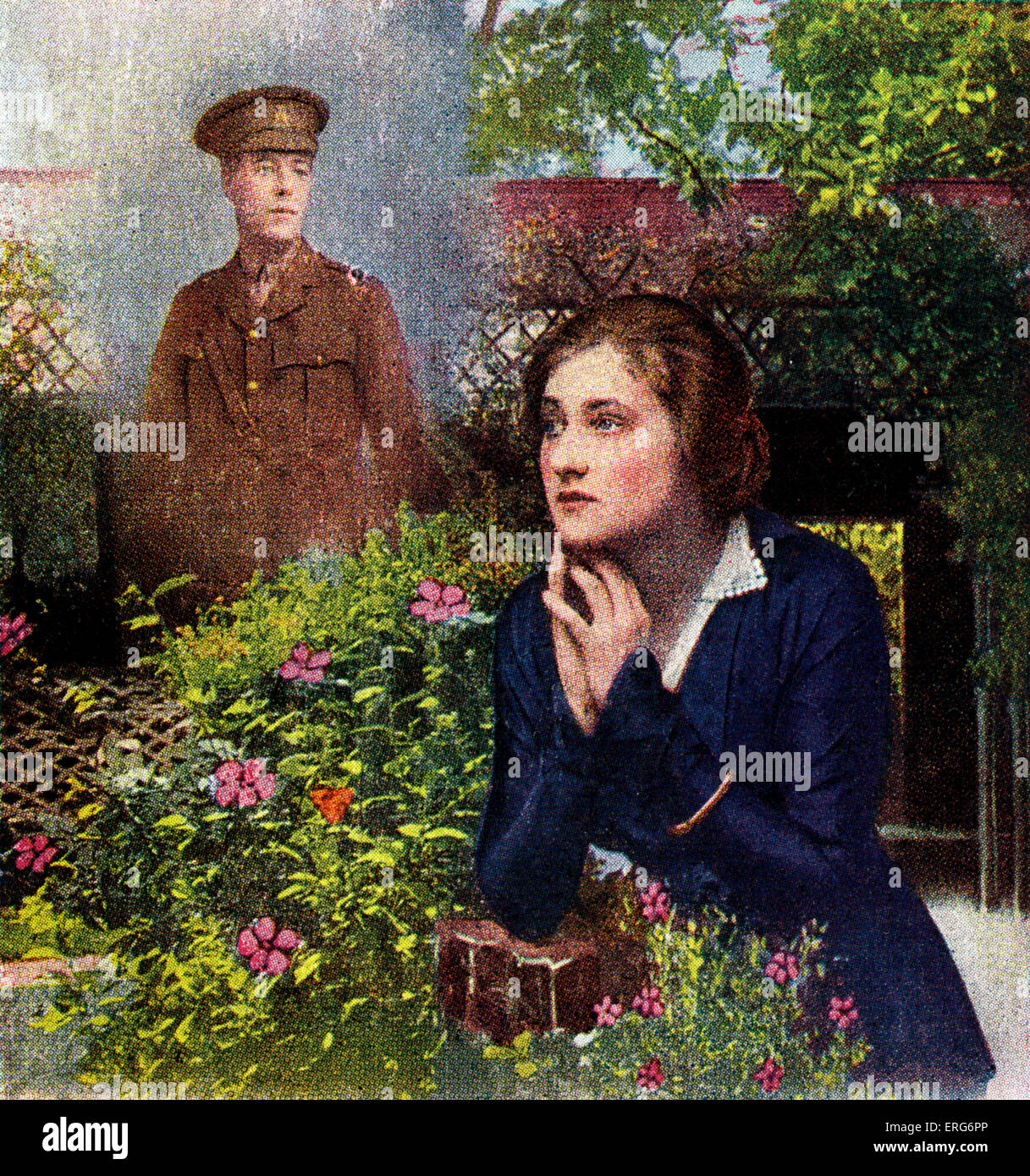 When You Come Home Wwi Postcard Lyrics Read Birds In The Garden Stock Photo Alamy
