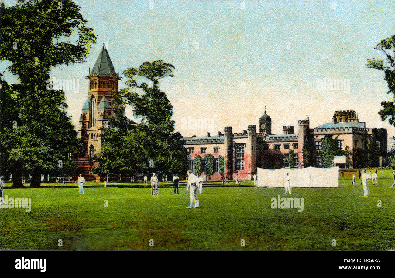 Cricket match at Rugby School, postcard of school and the school grounds. Early 1900s. Stock Photo