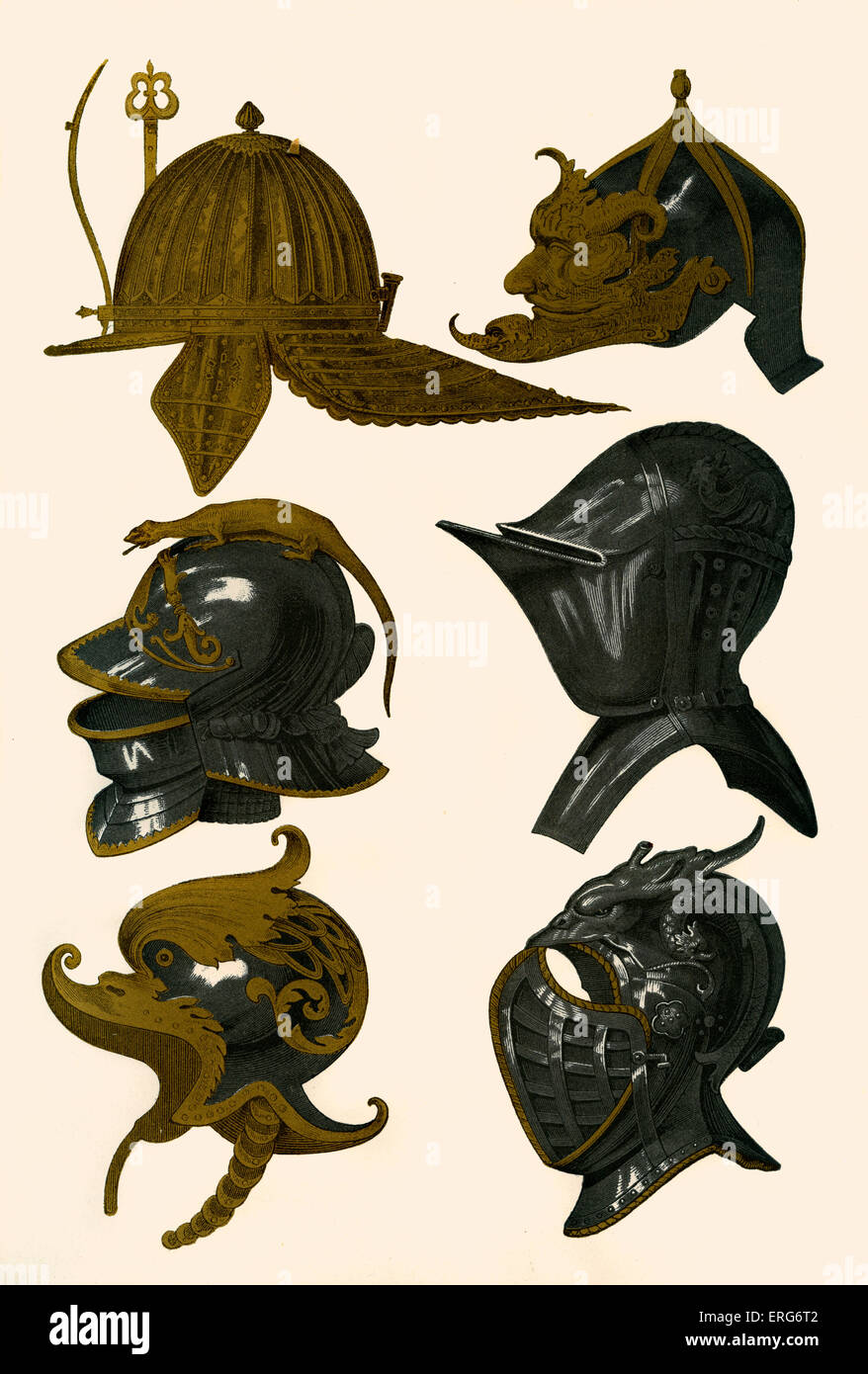 Helmets and Morions of the Middle Ages. Chromolithograph printed by Franz Kellerhoven, 1814 - 1872. - Stock Image