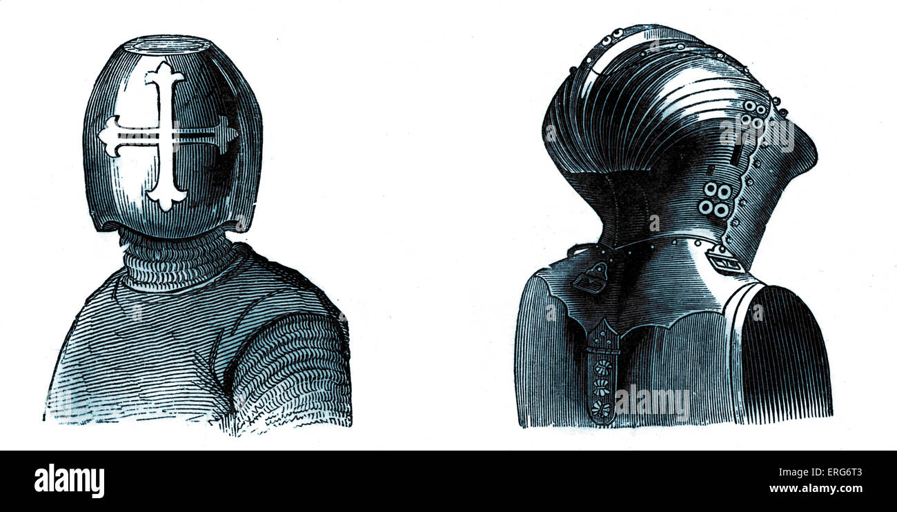 Tournament helmets, dating from the end of the thirteenth century (left) and end of the  fifteenth century (right). - Stock Image