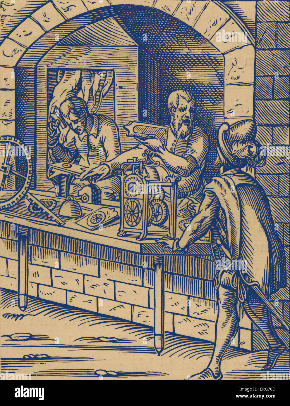 Clockmaker by Jost Amman, reproduced from a sixteenth century engraving. Swiss artist, 13 June, 1539 - 17 March, - Stock Image