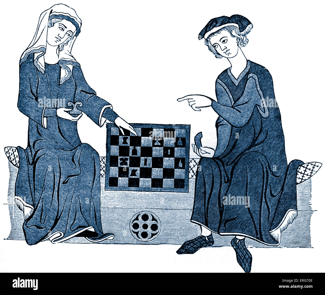 Chess players, reproduced from a thirteenth century miniature. Stock Photo