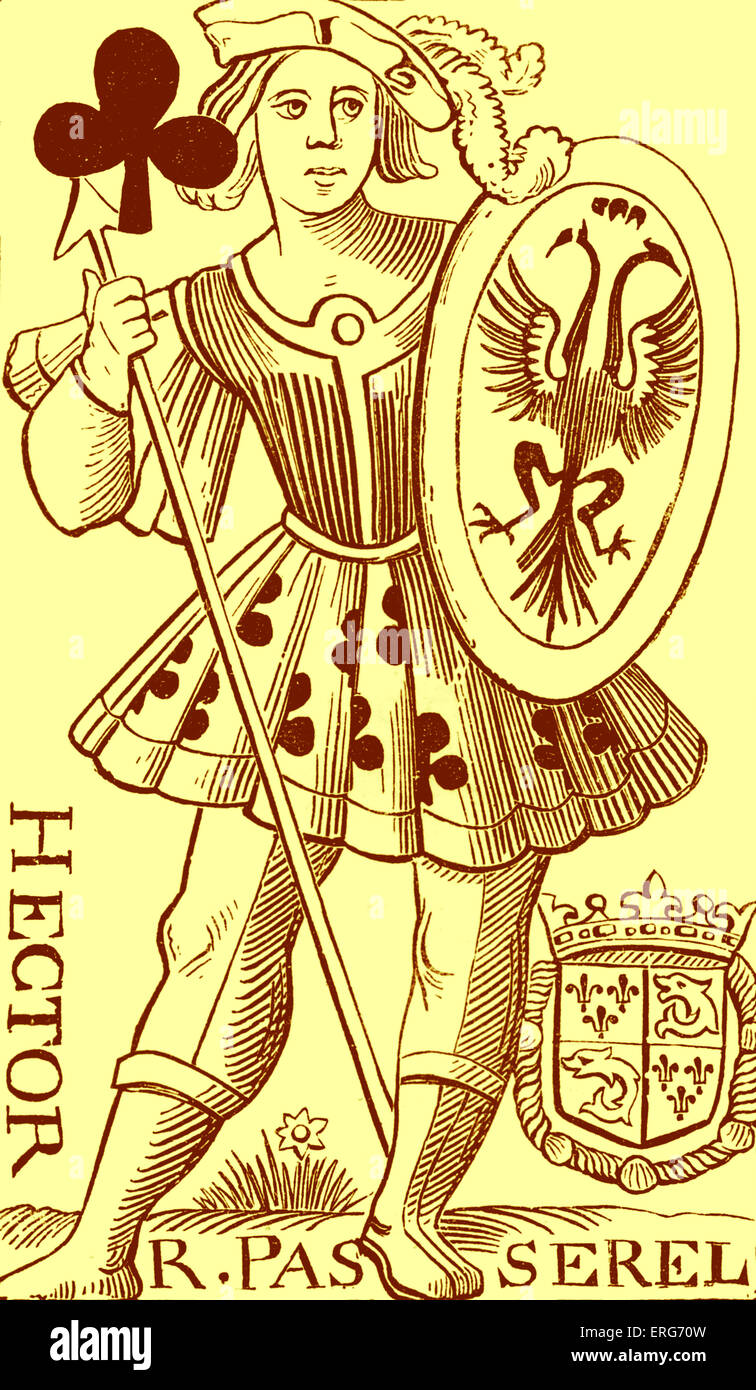 Knave of Clubs playing card designed by R. Passerel in the sixteenth century. Hector, the Trojan prince and warrior, - Stock Image