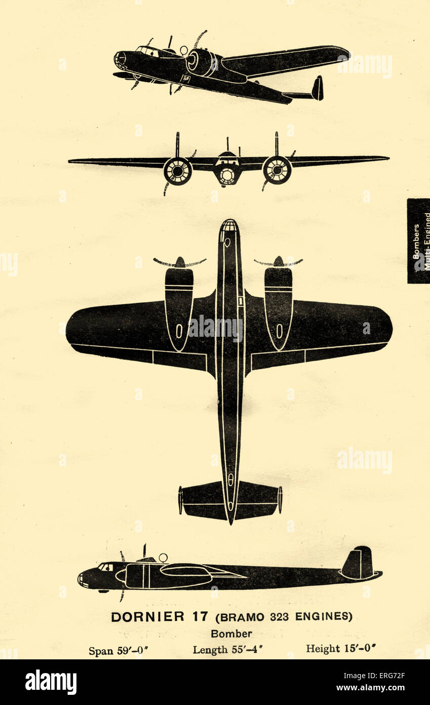 Dornier Do 17, a German light bomber used by the Luftwaffe during World War II. Its strengths lay in its speed and - Stock Image