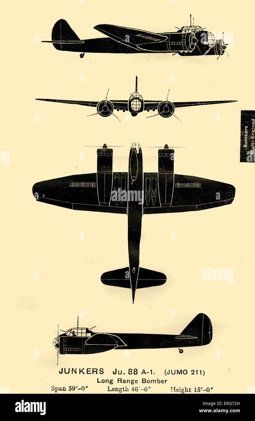 Junkers Ju 88, a German plane used by the Luftwaffe during World War II. Although its development was problematic, - Stock Image