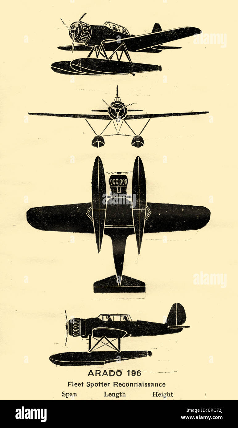 Arado Ar 196, a German reconnaissance aircraft which became the standard plane of the Kriegsmarine during World - Stock Image