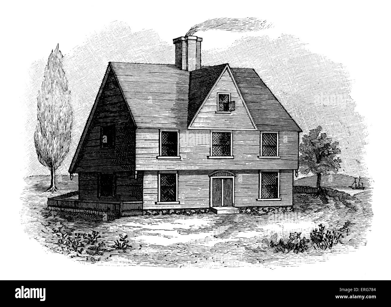 'Allyn House, New Plymouth'. This house was built in the Plymouth Colony by the Pilgrim Fathers, but was - Stock Image