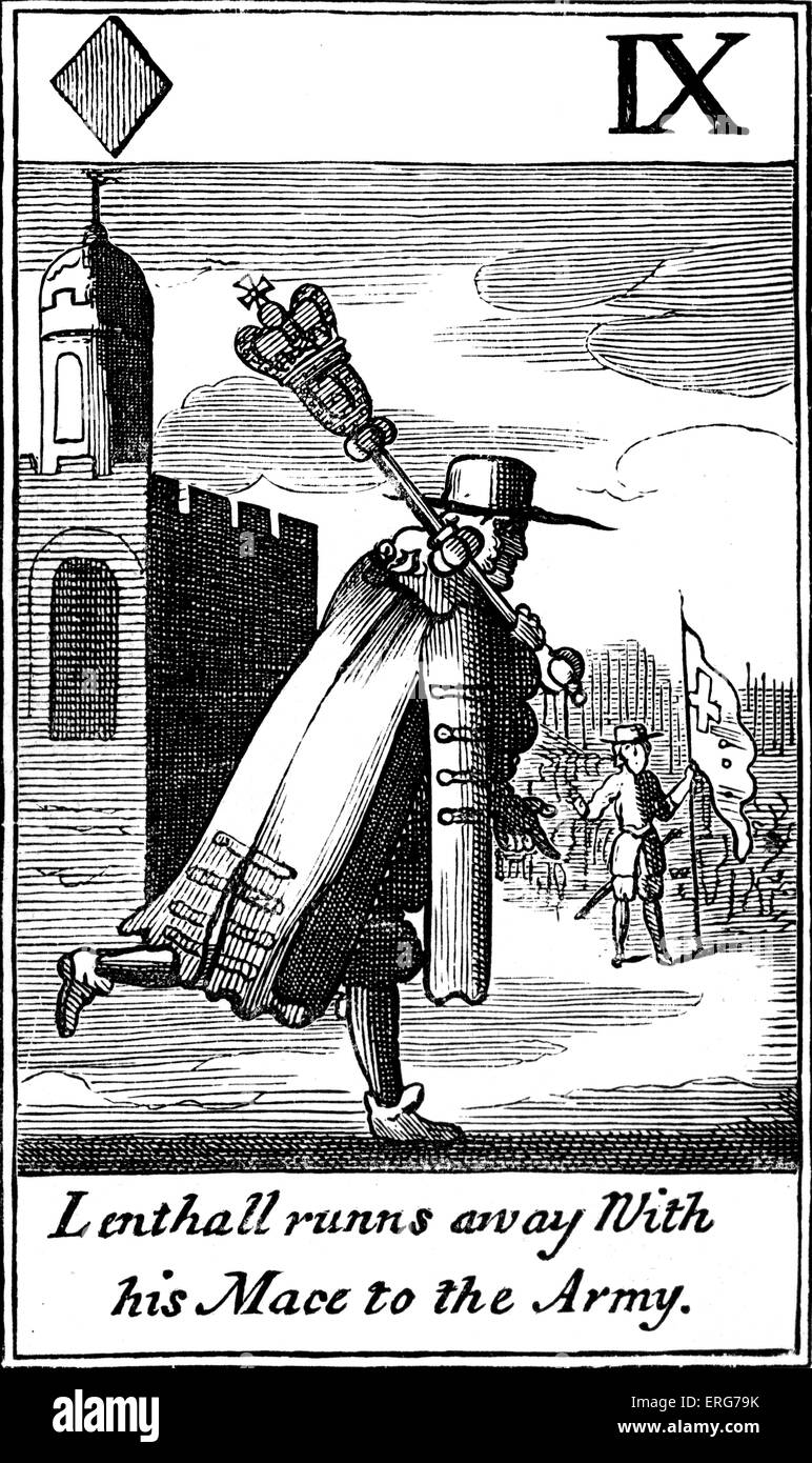 'Lenthall runs away with his mace to the army' - a satirical Cavalier playing card from the seventeenth - Stock Image