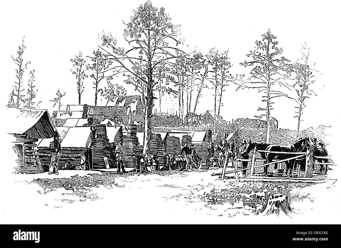 Camp of the 18th Pennsylvania Cavalry, Kilpatrick's Division, on the Union Left, between the Rappahannock and - Stock Image