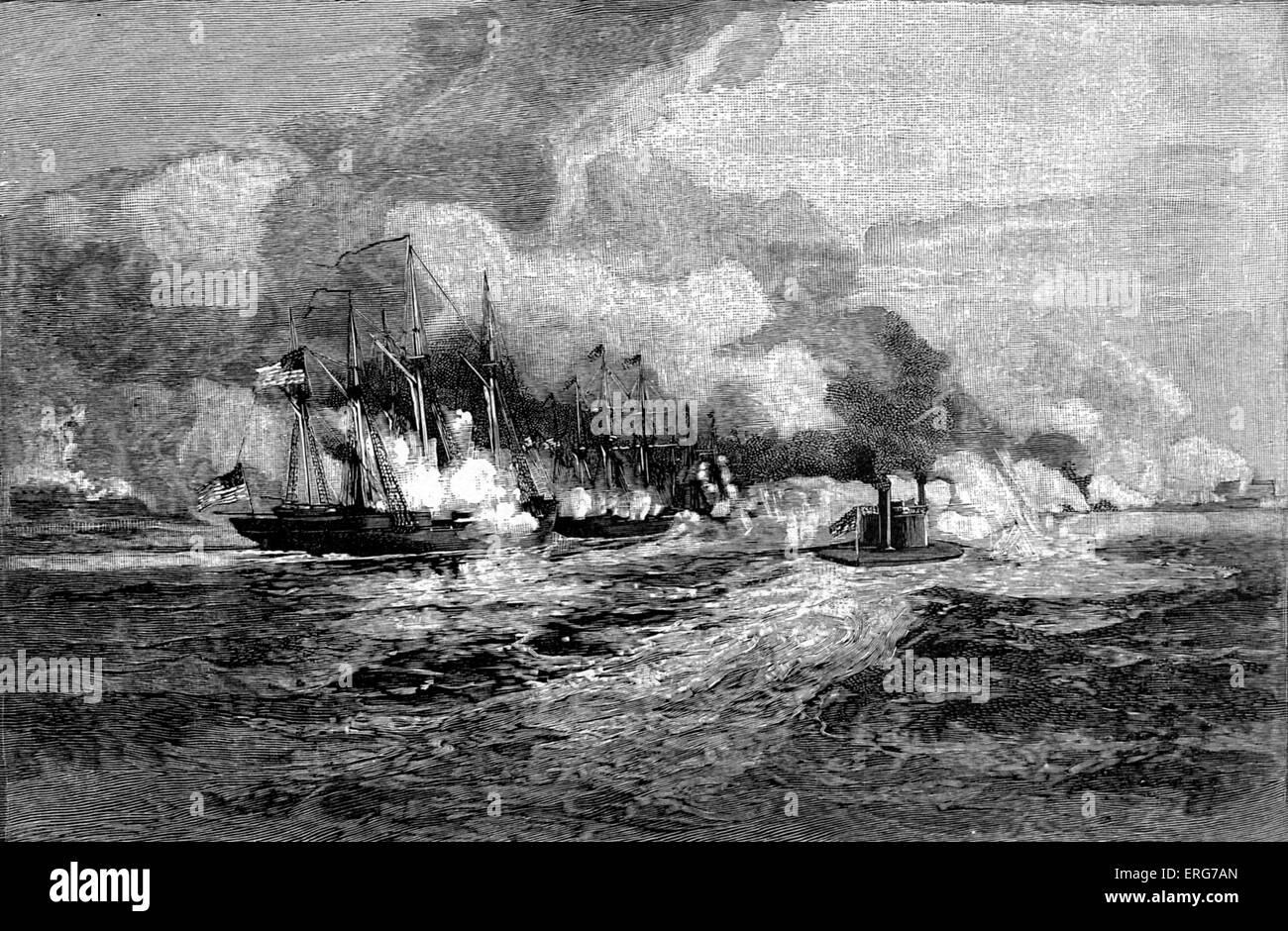 The Battle of Mobile Bay, 5 August, 1864, from a wartime sketch. American Civil War. The battle resulted in the - Stock Image