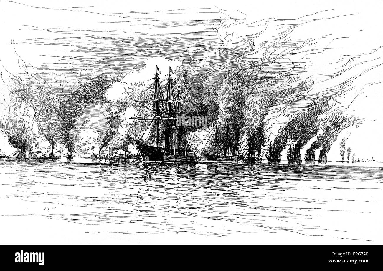 The Battle of Mobile Bay, 5 August, 1864, from a wartime sketch. The battle resulted in the Union fleet incapacitating - Stock Image