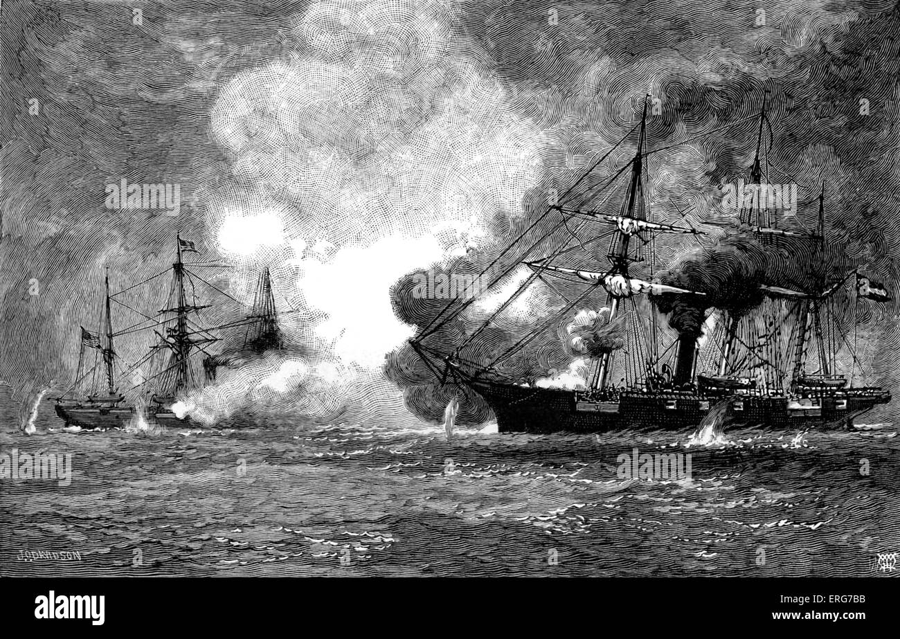 The Battle of Cherbourg in 1864. CSS Alabama had captured or destroyed dozens of Union merchant ships, but had been - Stock Image
