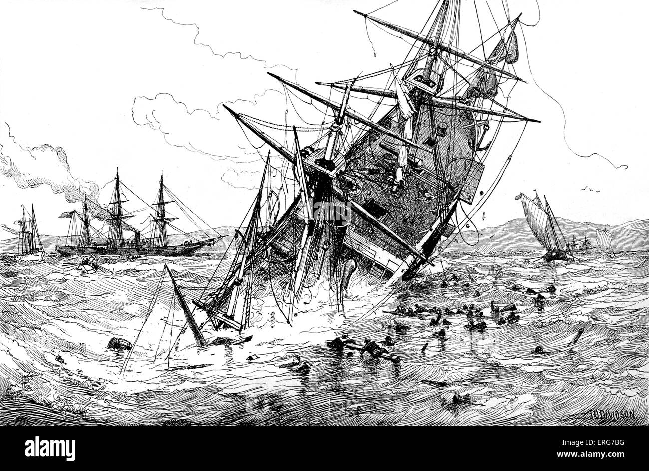 The sinking of CSS Alabama at the Battle of Cherbourg in 1864. CSS Alabama had captured or destroyed dozens of Union - Stock Image