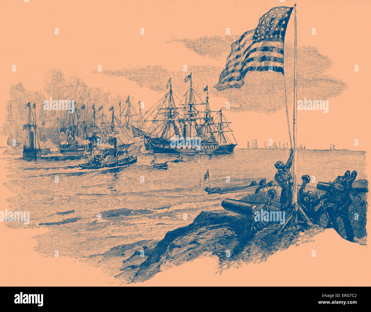 Hoisting of the Stars and Stripes over Fort Walker after the Battle of Port Royal on 7 November, 1861. American - Stock Image