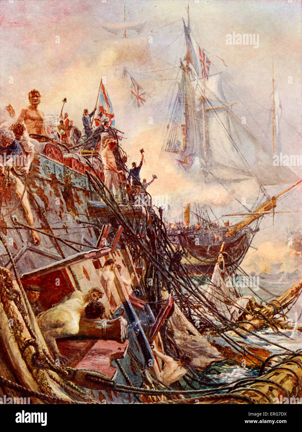'Crippled but Unconquered' by W L Wyllie. The HMS Belleisle was the only British ship to be demasted at - Stock Image