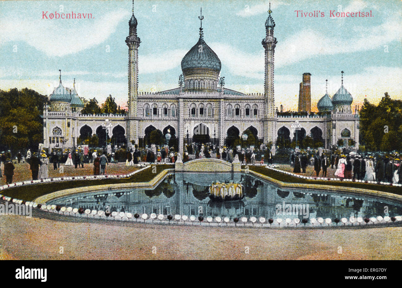 Copenhagen. Tivoli  Gardens Early 20th century postcard. Denmark - Stock Image