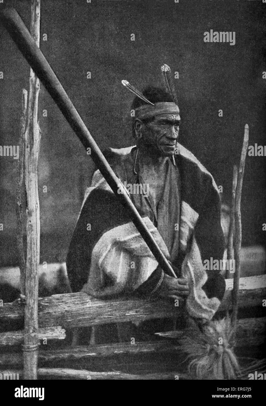 Te Hauhau - Maori warrior. Indigenous Polynesian people of New Zealand (Aotearoa). From late 1920s. - Stock Image