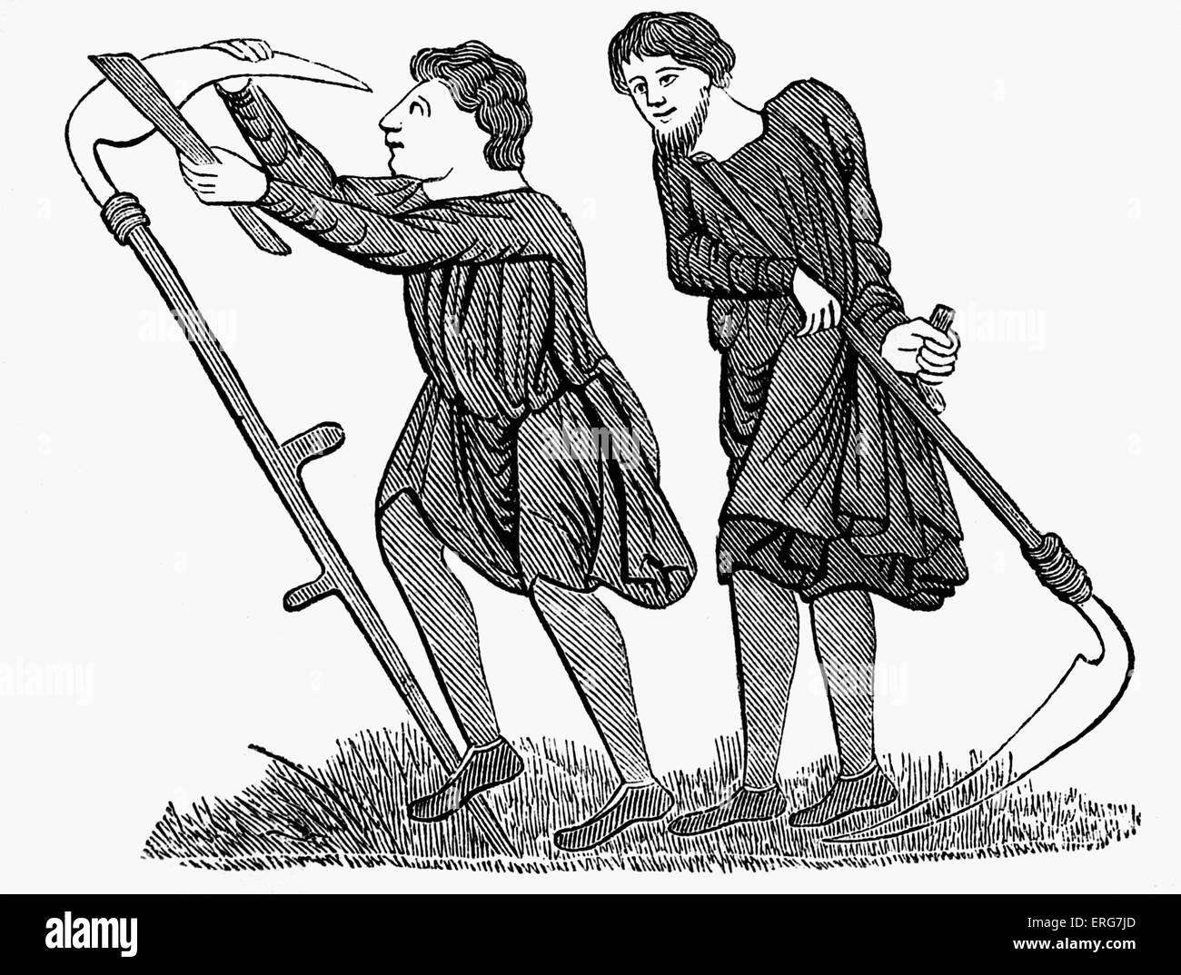 Labouring colons, 12th century - Stock Image