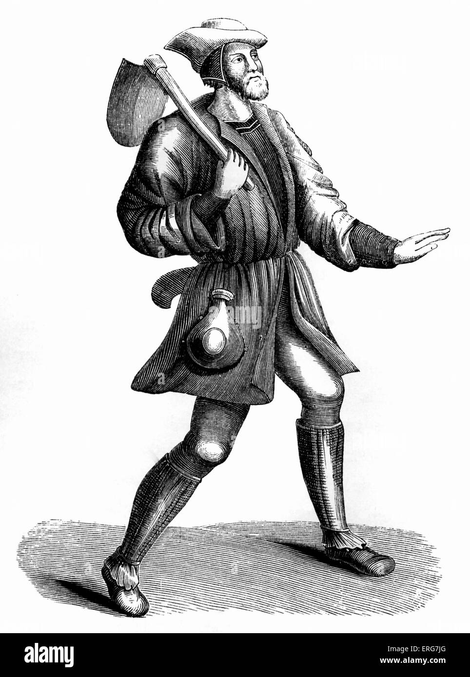 Costume of a villein or peasant, 15th century, - Stock Image