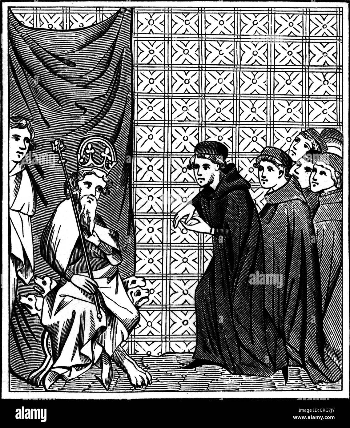 Emperor Charles IV arguing with fellows of the University of Paris. - Stock Image