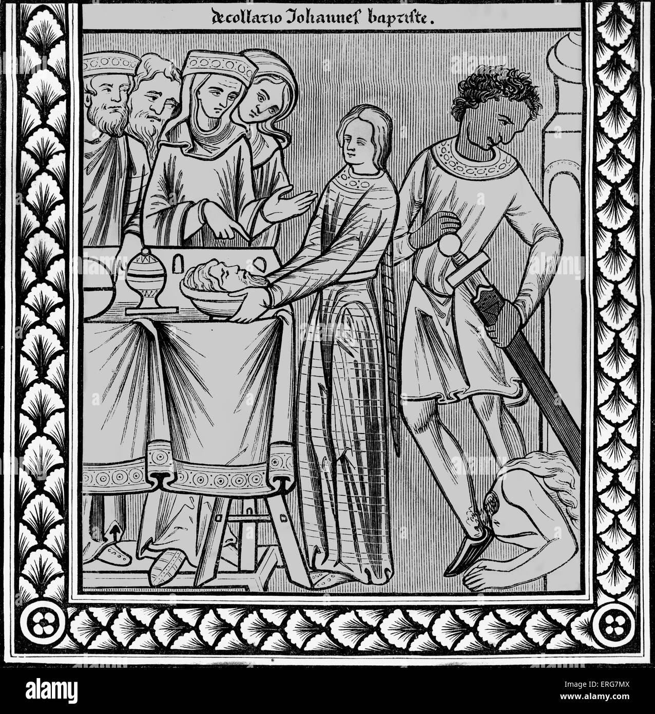 Decapitation of John the Baptist, reproduced from the thirteenth century miniature in the Psalm book of St Louis. - Stock Image