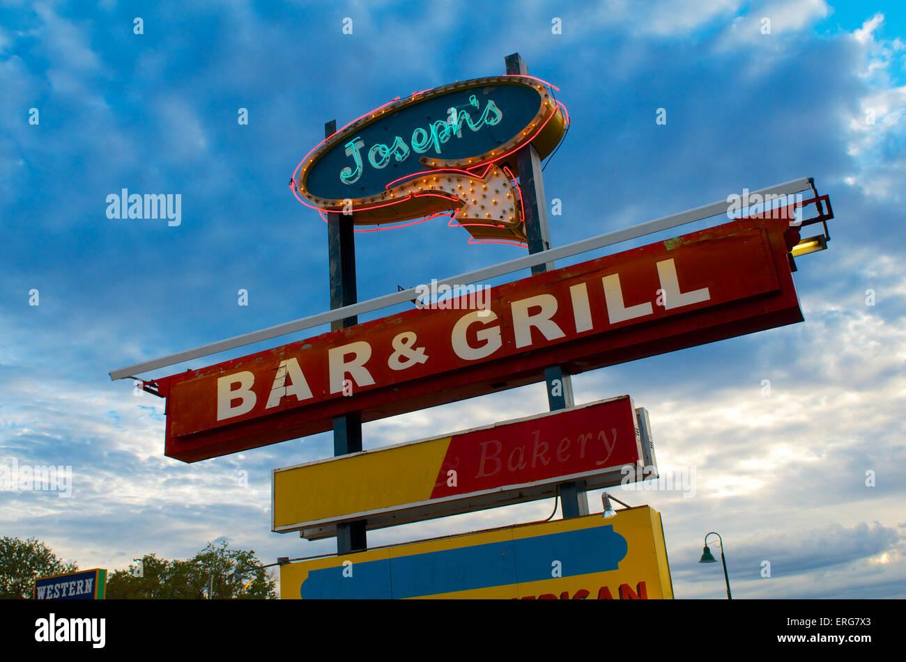 joseph's bar and grill historic neon sign in santa rosa, nm route 66