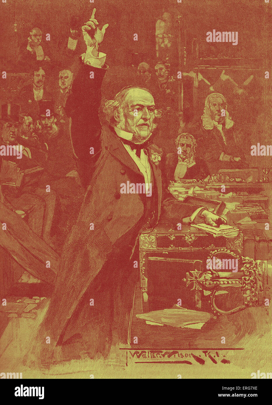 William Gladstone speaks for Home Rule Bill, 1886. Liberal Prime Minister introduced first Home Rule Bill (Government - Stock Image