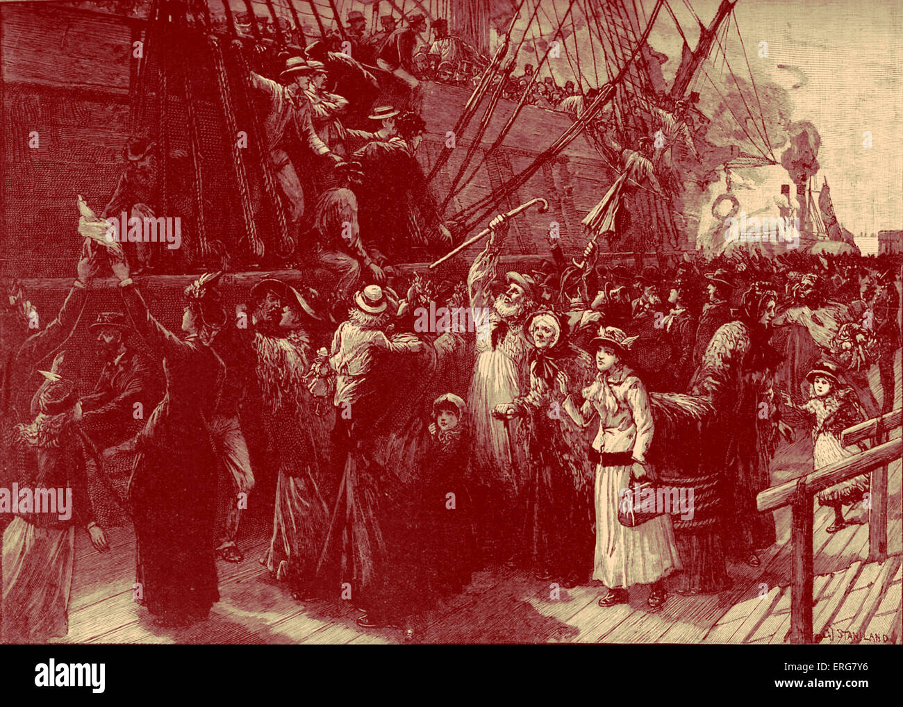British emigrant ship to colonies - late 19th century - Stock Image