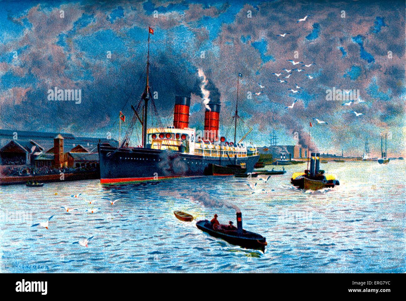 Cunard liner 'Campania', Liverpool, UK.  19th century. Stock Photo