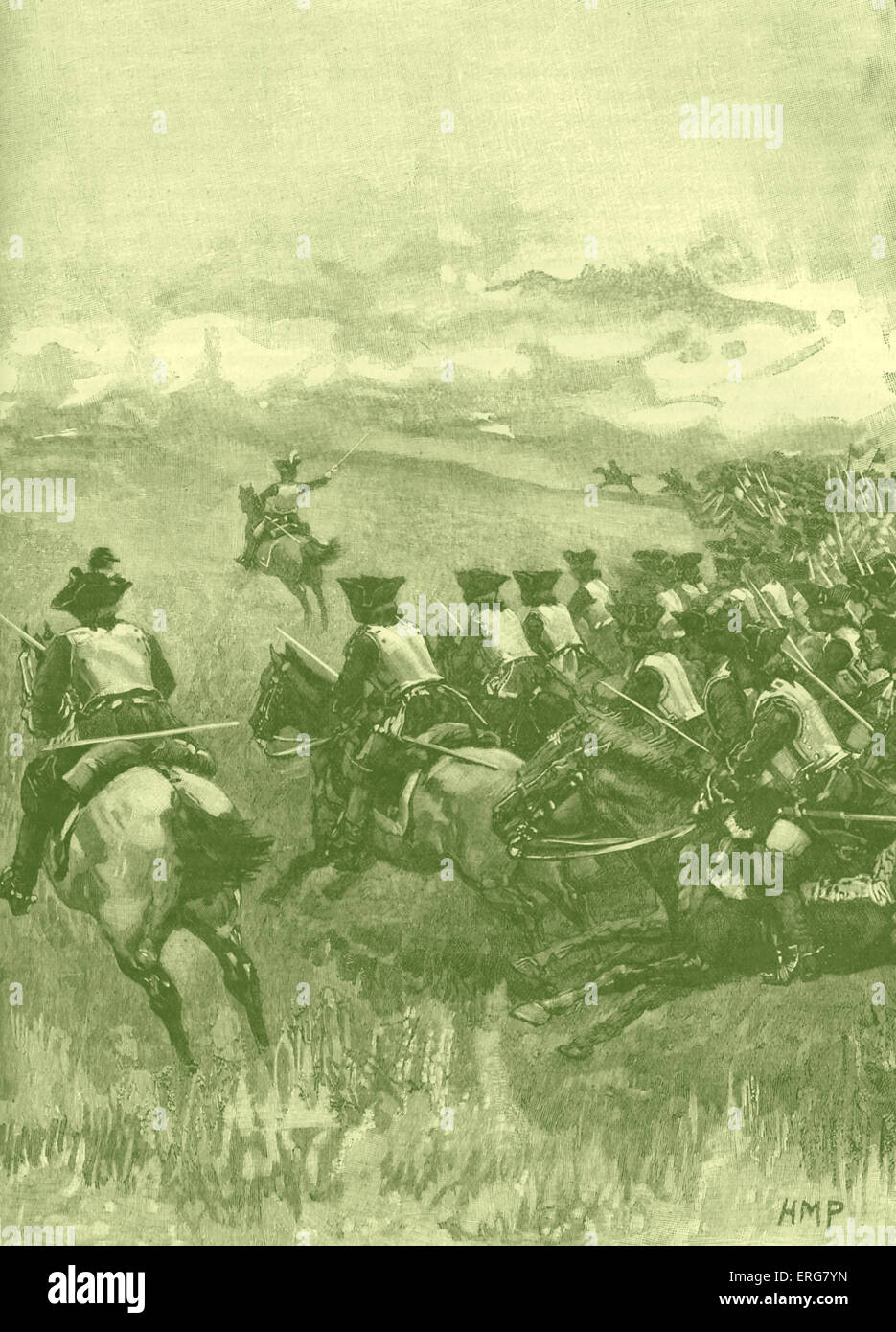 Battle of Blenheim: charge of Marlborough's horse, 13 August 1704. Also known as the Second Battle of Höchstädt. - Stock Image