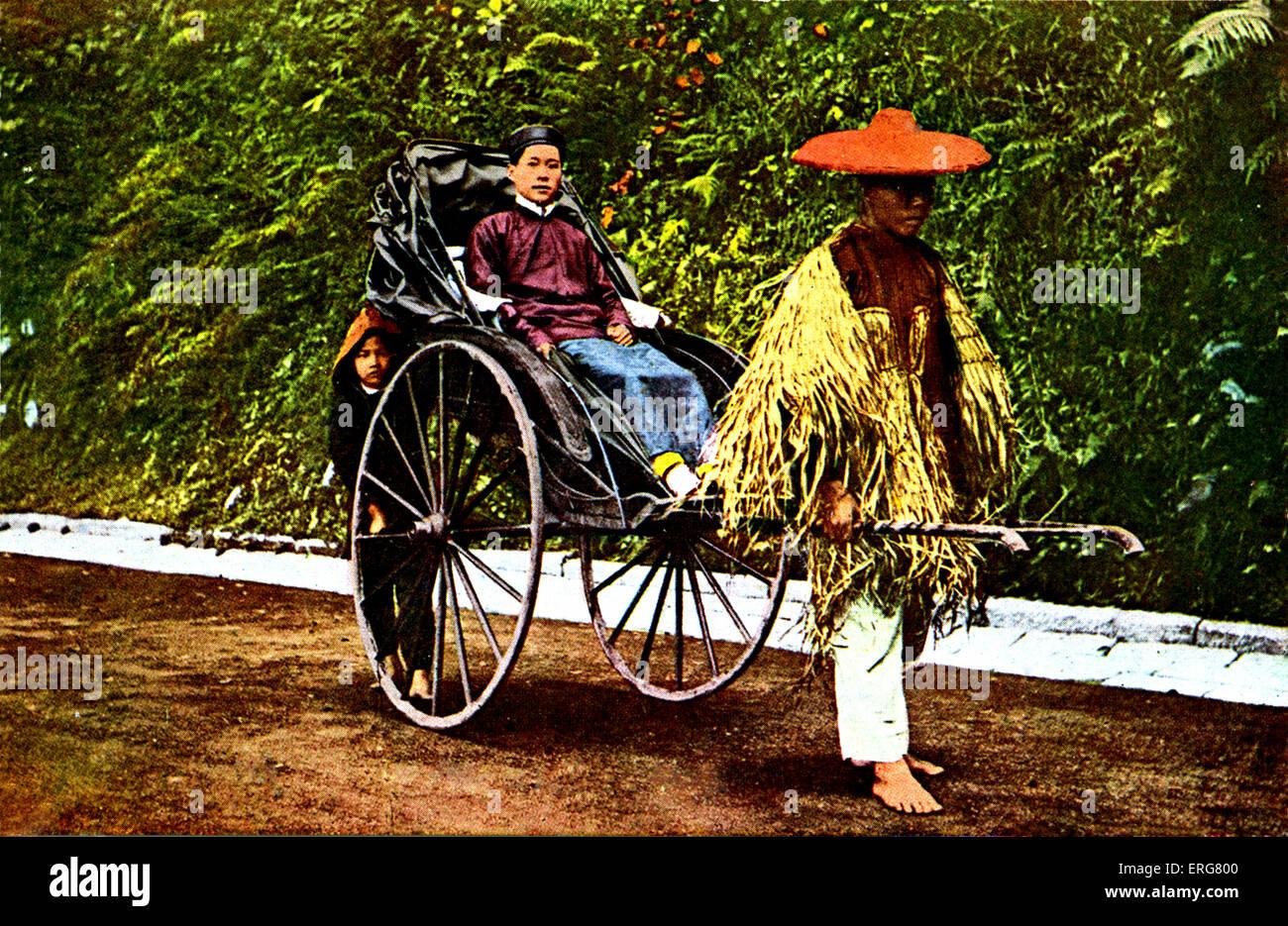 Chinese rickshaw - early 1900s. Probably Hong Kong. Stock Photo
