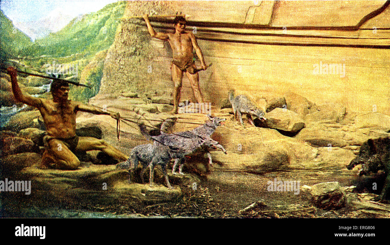 Prehistoric man - Azilian culture. Reconstruction of hunting scene.  Remains found in modern- day northern Spain - Stock Image