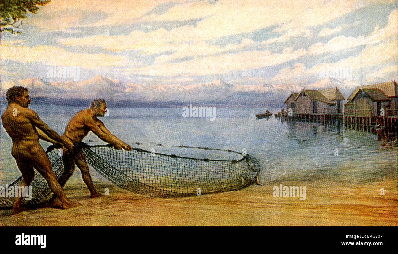 Prehistoric man - lake dwellers. Reconstruction of fishing scene.  Remains found on shore of modern-day Lake Neuchâtel, - Stock Image