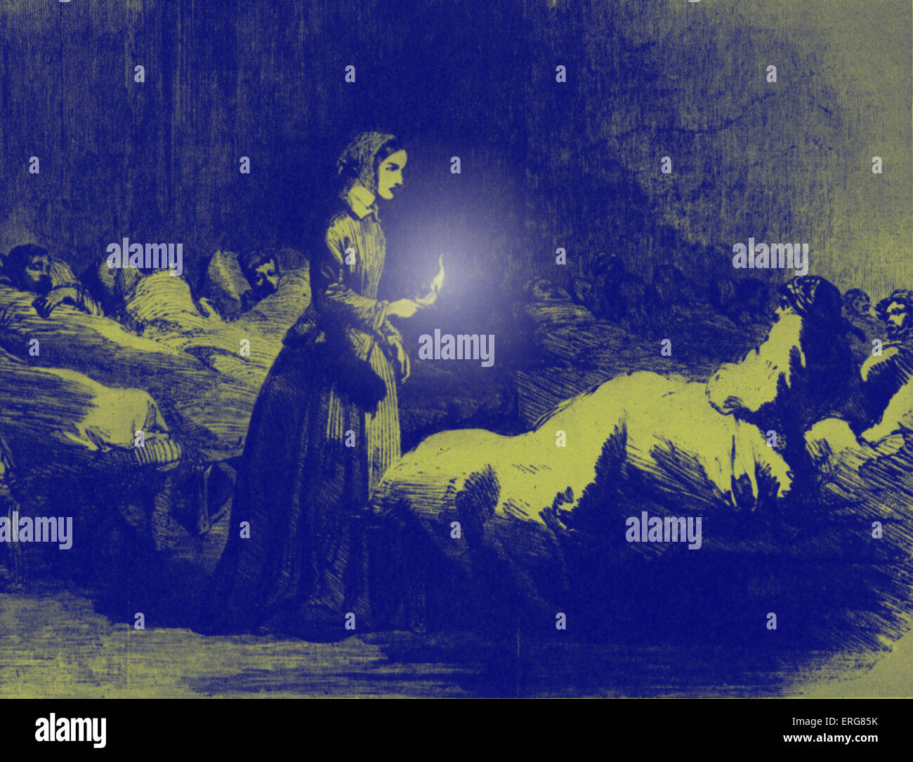 Florence Nightingale in hospital at Scutari, during the Crimean War. Known as 'The Lady with the Lamp'. - Stock Image