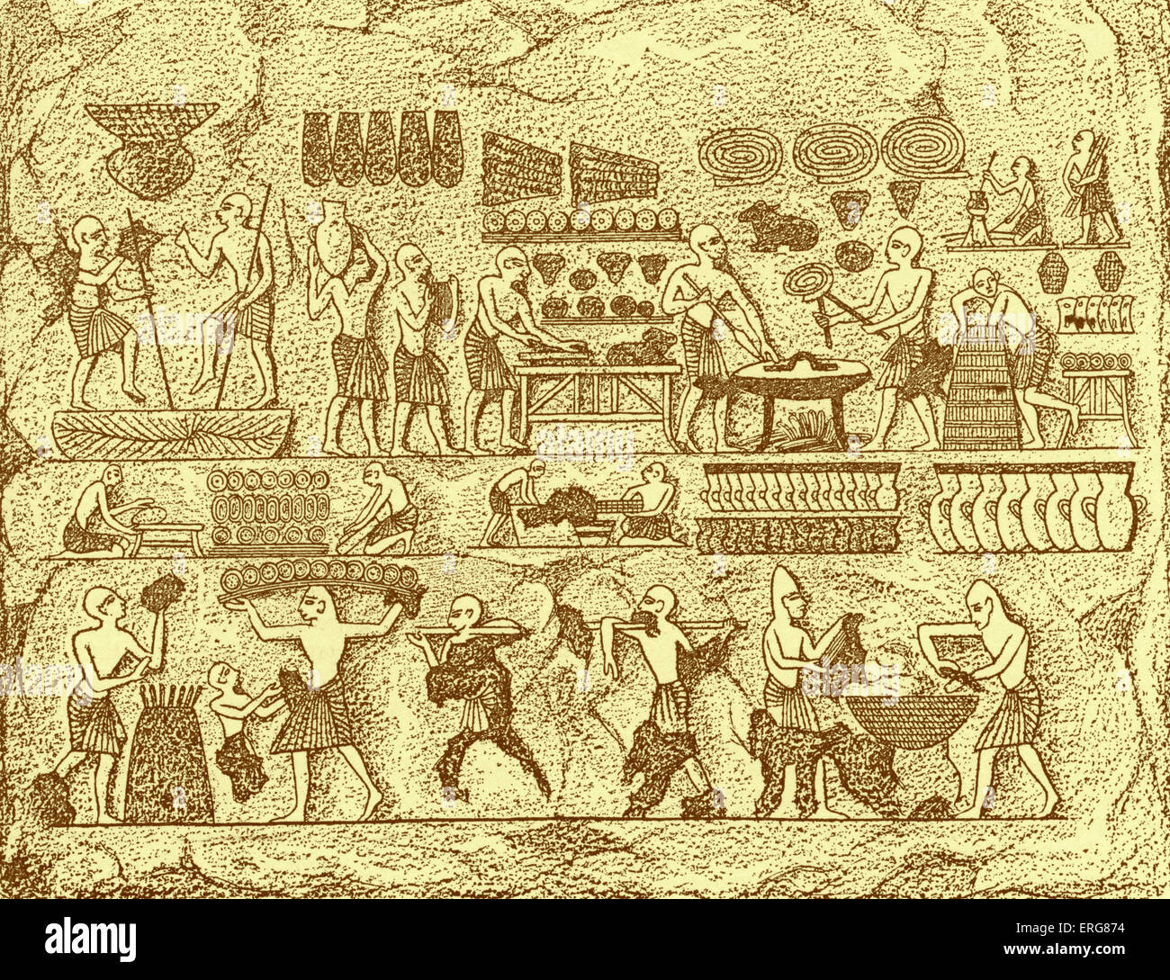 Eyptian royal bakery, showing different processes of baking.  Ancient Egyptians were the first to discover the secret - Stock Image