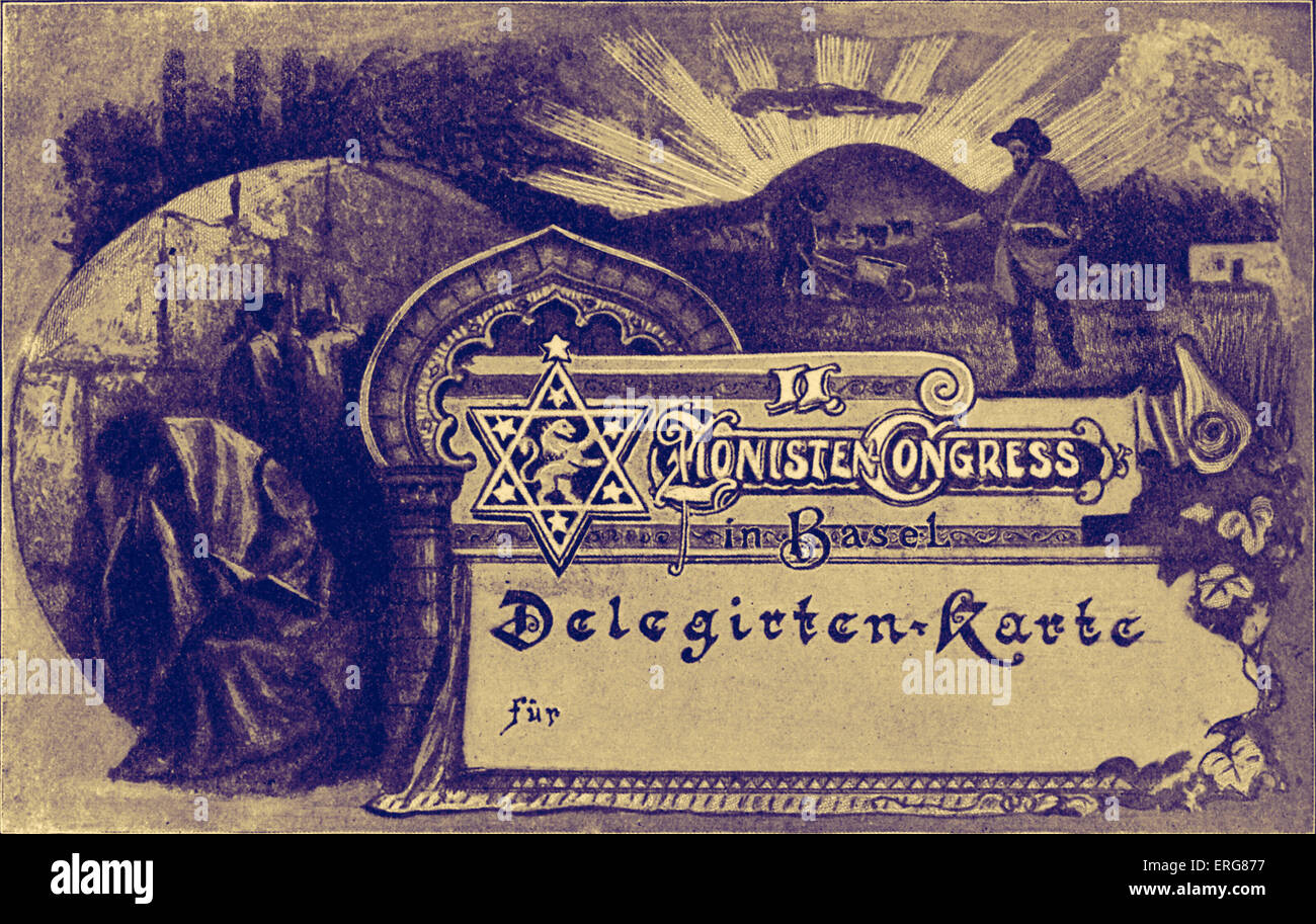 Second Zionist Congress at Basel  delegate card.  Shows weeping at the Wailing Wall, plowing and sowing the holy - Stock Image