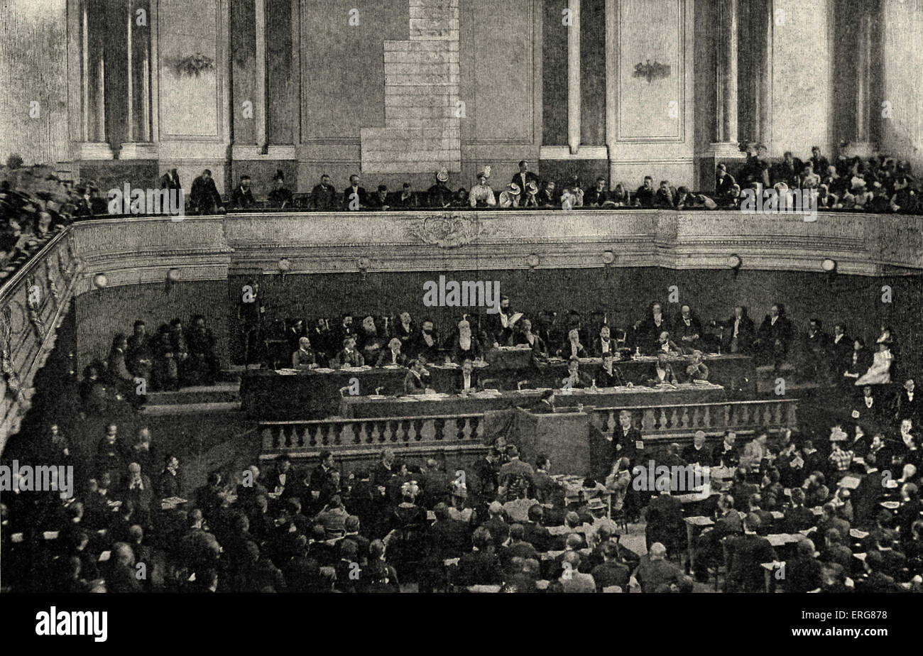 Second Zionist Congress at Basel being addressed by Theodor Herzl. 28 -31 August 1898 - Stock Image