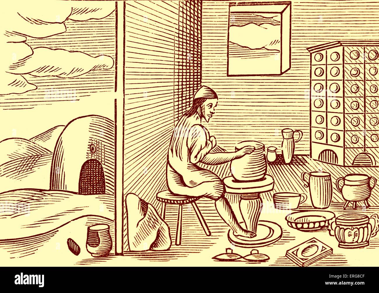 Potter, taken from a 1659 English edition of John Amos Comenius' 'Orbis sensualium pictus', probably - Stock Image