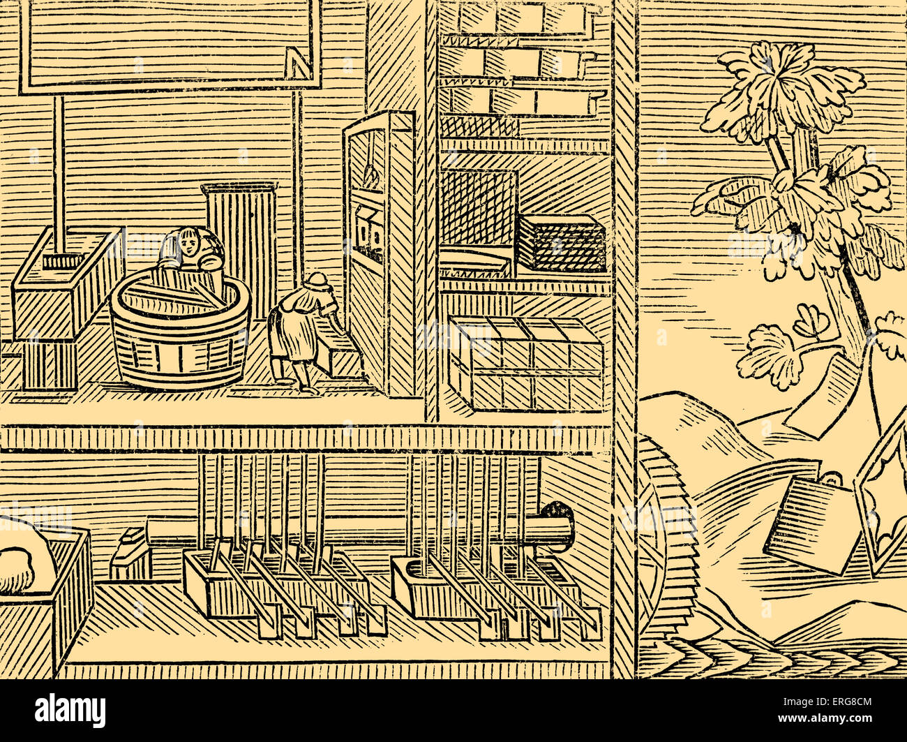 Paper-makers, taken from a 1659 English edition of John Amos Comenius' 'Orbis sensualium pictus', probably the most Stock Photo