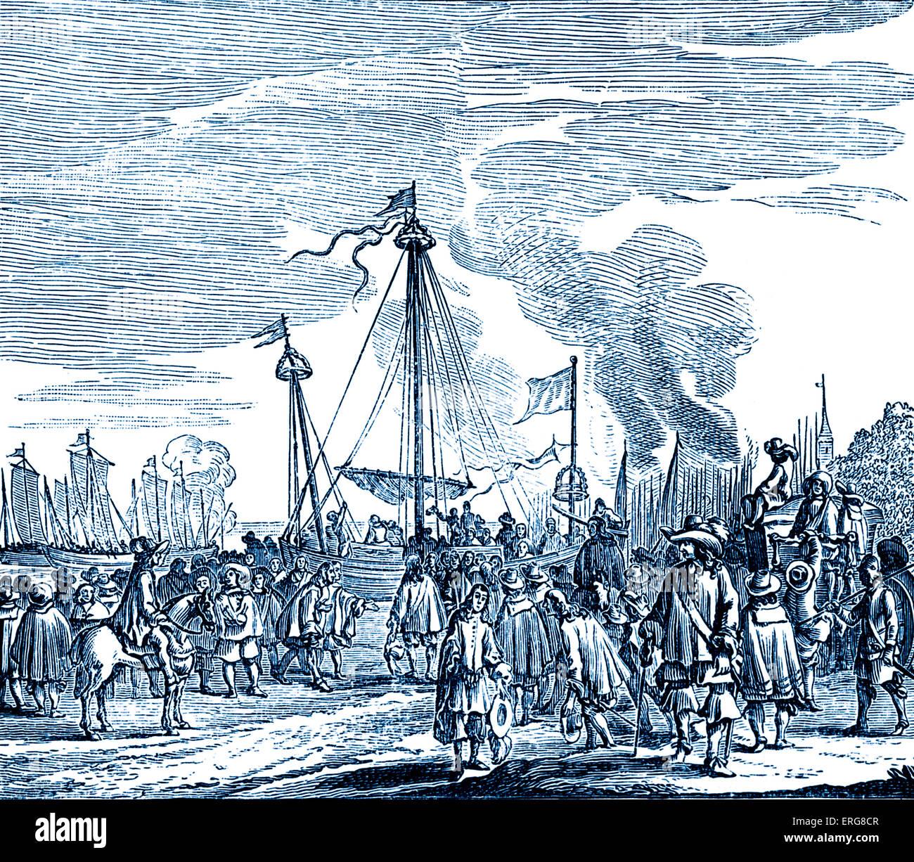 Charles II embarking for England, reproduced from the Koninklijke Beltenis van Karel II, published in 1660. Charles - Stock Image