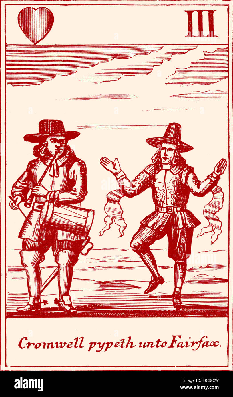 'Cromwell pypeth unto Fairfax' - a satirical Cavalier playing card from the seventeenth century. - Stock Image