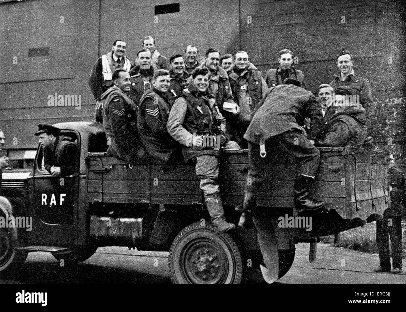 World War 2 - Bomber command,  Published 1941. Bomber command crews. From Government publication: caption reads: - Stock Image