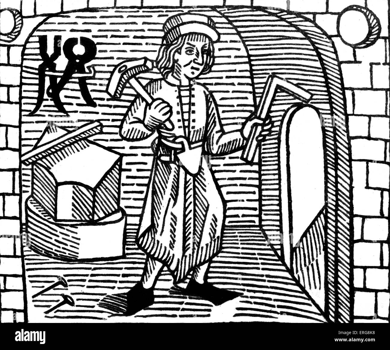 Builder - 15th century. Woodcut from William Caxton 's The Game of Chesse, c. 1474. English merchant, diplomat, - Stock Image