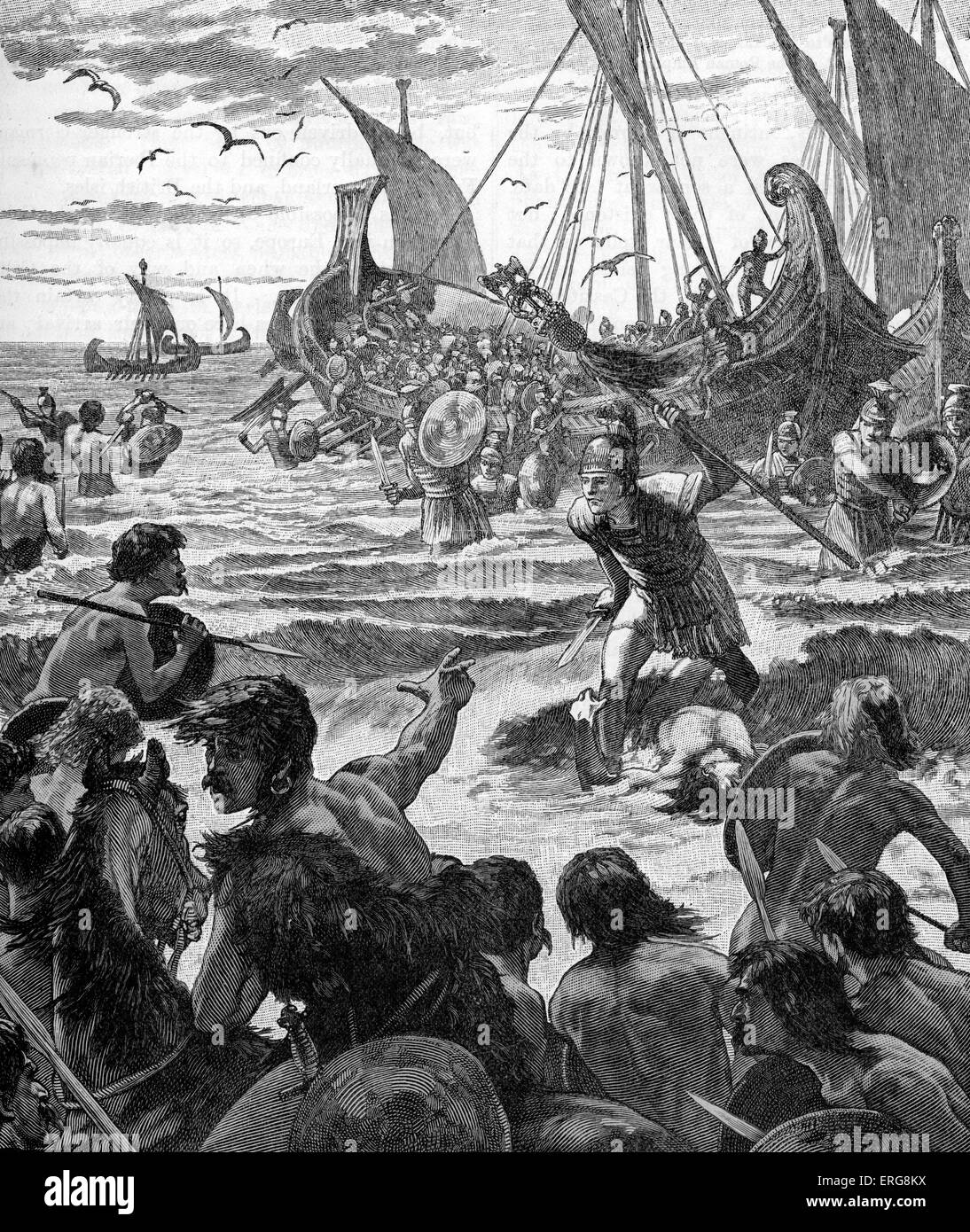 Roman invasion of Britain - early 20th century illustration. Landing on the coast of Kent. Invasion commanded by - Stock Image