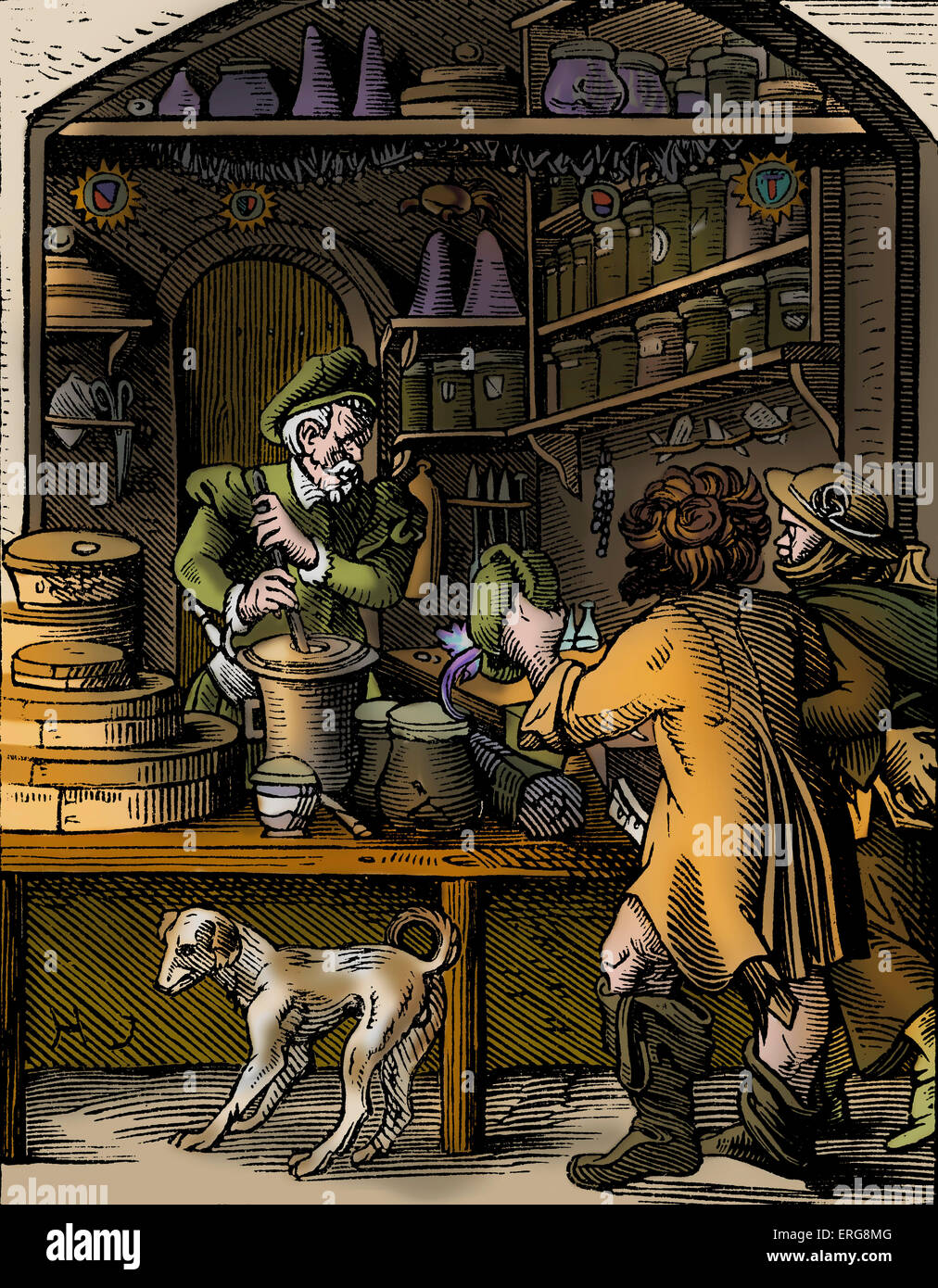 Apothecary by Jost Amman, reproduced from a sixteenth century engraving. Swiss artist, 13 June, 1539 - 17 March, Stock Photo