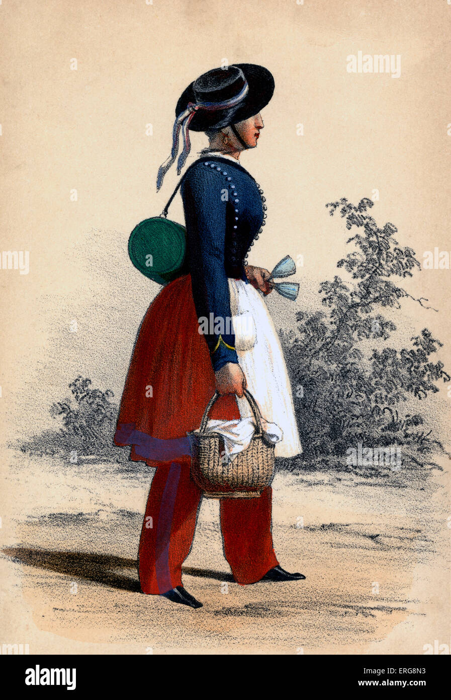 Cantinière: 19th century Frenchwoman attached to military regiments, selling wine to the troops and working - Stock Image