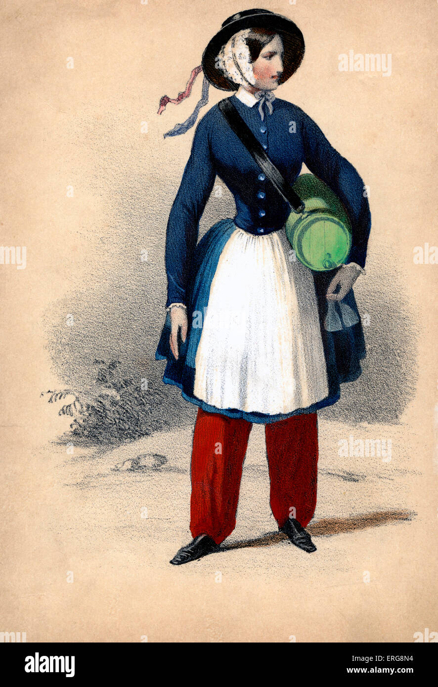 Vivandière: 19th century Frenchwoman attached to military regiments, selling wine to the troops and working - Stock Image