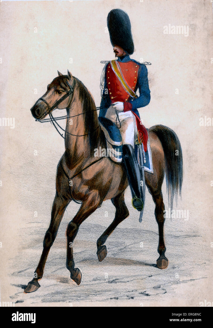 Gendarme: a  member of a gendarmerie, 19th century French police force, incorporated in the French Army. Under the - Stock Image