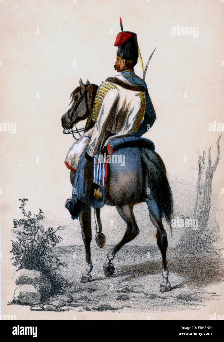 Hussard: a member of 19th century light cavalry in the French Army - here on horseback. Hussars belonged to elite Stock Photo